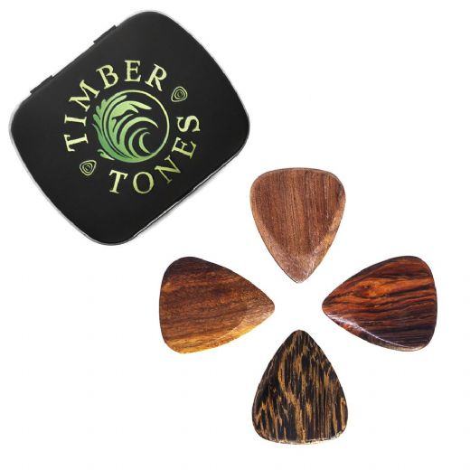 Timber Tones Acoustic Guitar Mixed Tin of 4 Guitar Picks